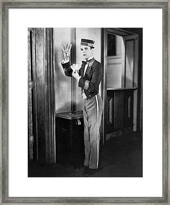 Theater Usher With Tickets Framed Print by Underwood Archives