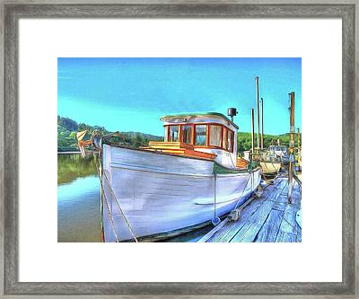 Thee Old Dragger Boat Framed Print by Thom Zehrfeld