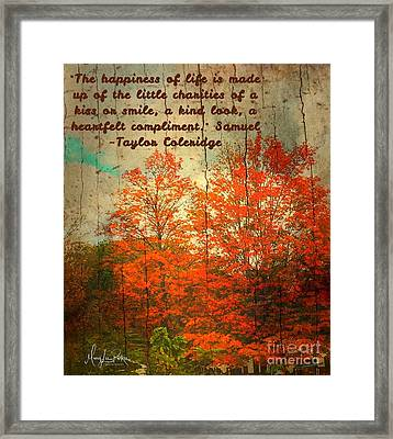The Happiness Of Life By Taylor Coleridge Framed Print