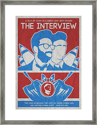 Theminimalist Movie Poster- The Interview Framed Print by Celestial Images