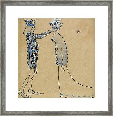 Then Put The Prince A Crown Of Gold On Her Head Framed Print by John Bauer