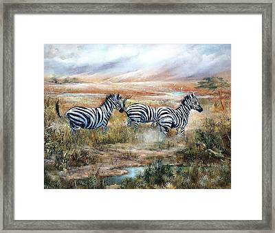 Then There Were Three Framed Print by Sally Seago