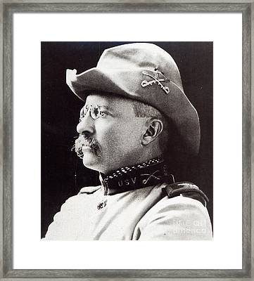 Theodore Roosevelt As Lieutenant-colonel Of 1st Us Volunteer Cavalry In 1898 Framed Print by American School