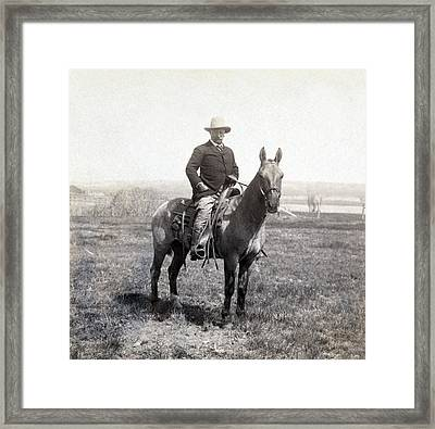 Theodore Roosevelt Horseback - C 1903 Framed Print