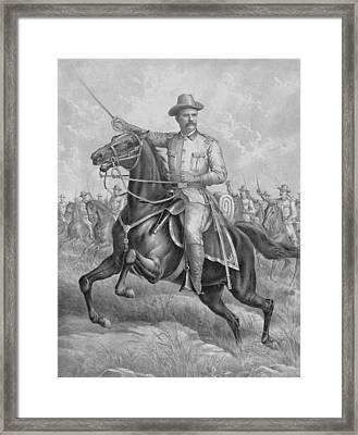 Theodore Roosevelt On Horseback  Framed Print