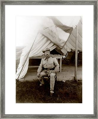 Theodore Roosevelt, Seated At Entrance Framed Print