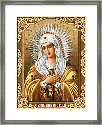 Theotokos Of Tenderness Seraphimo-diveevska Framed Print