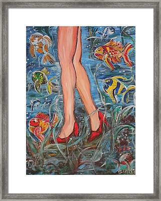 Framed Print featuring the painting There Are Many Fish In The Sea by Sladjana Lazarevic