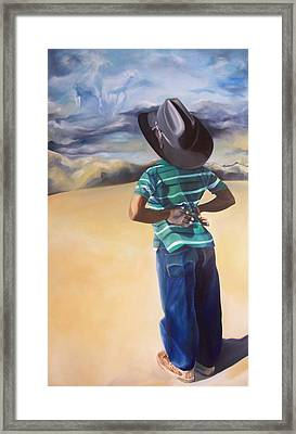 There's A Storm Commin Framed Print by Joyce McEwen Crawford