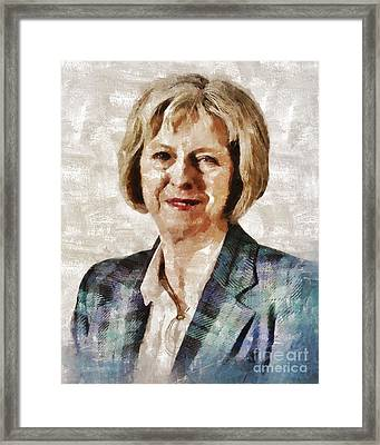 Theresa May, Prime Minister Of The United Kingdom By Mary Bassett Framed Print by Mary Bassett