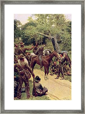They Talked It Over With Me Sitting On The Horse Framed Print by Howard Pyle