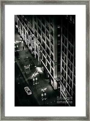 They Walk Alone Film Noir High Angle Photo  Of State And Lake Street At Night Chicago Illinois Framed Print by Linda Matlow