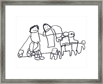 They're Walking Their Dogs Framed Print by Junicorn T