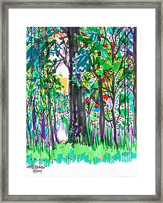 Framed Print featuring the drawing Thicket by Seth Weaver