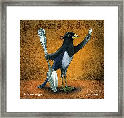 Thieving Magpie... Framed Print by Will Bullas