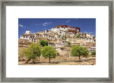 Framed Print featuring the photograph Thikse Monastery by Alexey Stiop