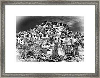 Thiksey Monastery - Paint Bw Framed Print by Steve Harrington