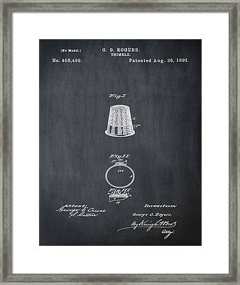 Thimble Patent 1891 In Chalk Framed Print by Bill Cannon