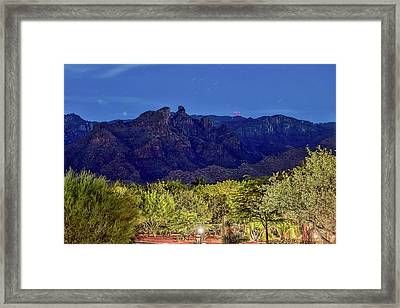 Framed Print featuring the photograph Thimble Peak At Night Textured by Dan McManus