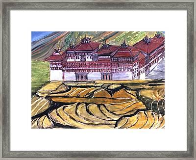 Thimpu Dzong Framed Print by Duygu Kivanc