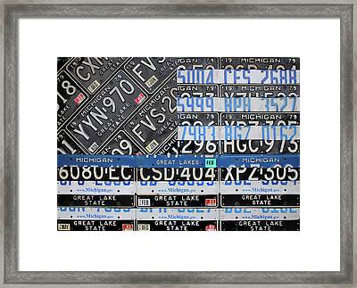 Thin Blue Line Michigan License Plate American Flag Art Framed Print