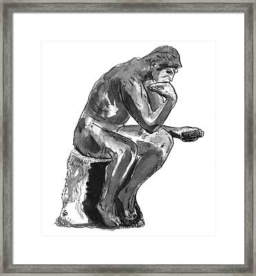 Think Framed Print by Dysconnected