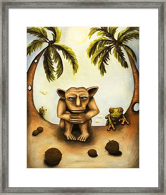 Thinking About Coconuts Framed Print by Leah Saulnier The Painting Maniac