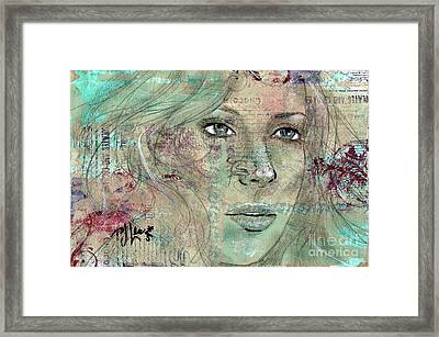 Framed Print featuring the drawing Thinking Back by P J Lewis