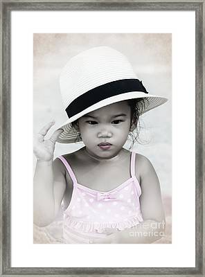 Thinking Framed Print by Michelle Meenawong