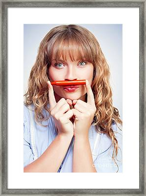 Thinking Student With Orange Crayon Moustache Framed Print