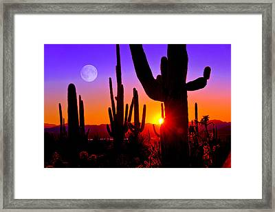 Third Sunset At Saguaro Framed Print