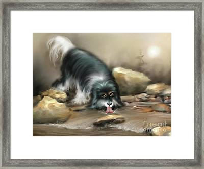 Framed Print featuring the painting Thirsty by S G
