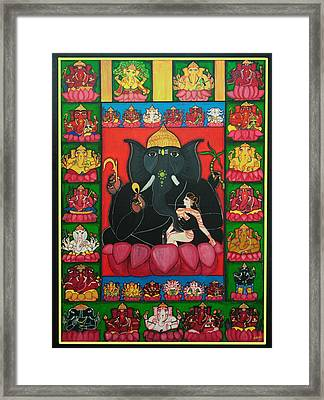Thirty Two Forms Of Ganapati Framed Print