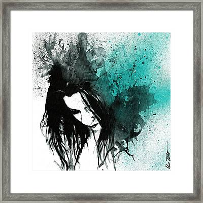 This Confession Means Nothing - Turquoise Framed Print by Marco Paludet