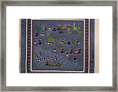 This Hmong Quilt Depicts Villagers Framed Print by Robert S. Oakes