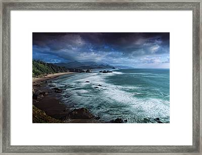 This Is Oregon State No.16 - Cannon Beach Waves Framed Print by Paul W Sharpe Aka Wizard of Wonders