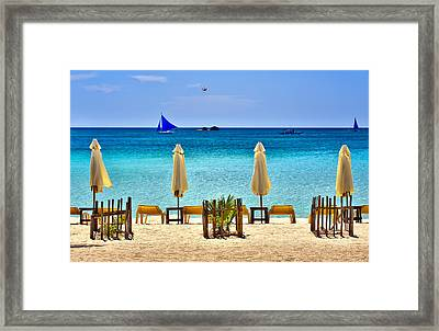 This Is The Philippines No.28 - Beach Scene With Sail Boats Framed Print by Paul W Sharpe Aka Wizard of Wonders