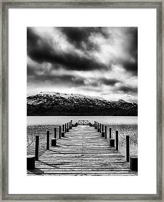 Dramatic Black And White Scene In The Argentine Patagonia Framed Print