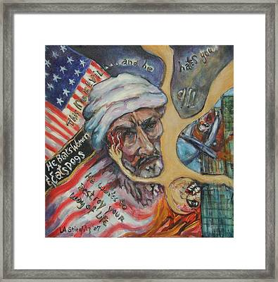 This Man Is Evil Framed Print by Lee Anne Stieglitz