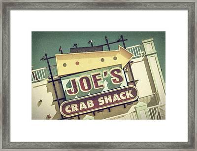 This Way To Joe's Crab Shack Framed Print by Joan Carroll