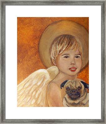Thomas And Bentley Little Angel Of Friendship Framed Print by The Art With A Heart By Charlotte Phillips