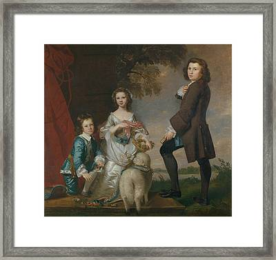 Thomas And Martha Neate With His Tutor, Thomas Needham Framed Print by Joshua Reynolds