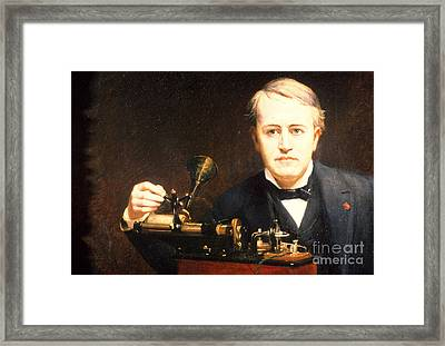 Thomas Edison, American Inventor Framed Print by Photo Researchers