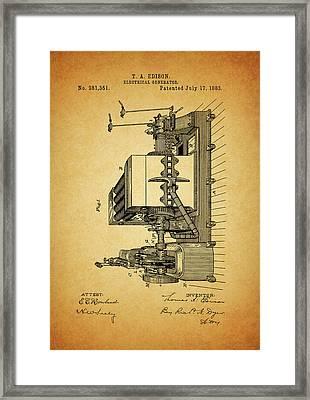 Thomas Edison Generator Patent Framed Print by Dan Sproul