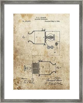 Thomas Edison Speaking Telegraph Patent Framed Print by Dan Sproul
