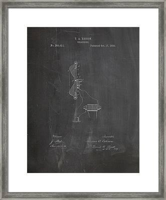 Thomas Edison Telephone Patent Framed Print by Dan Sproul