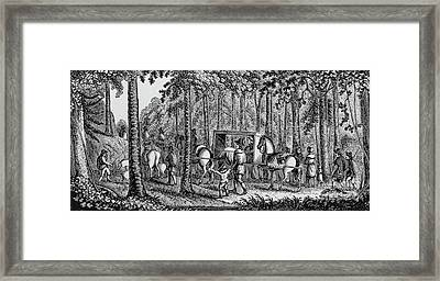 Thomas Hooker And His Congregation Traveling Through The Wilderness Framed Print