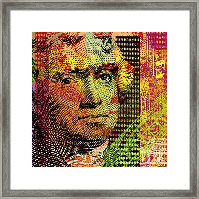 Framed Print featuring the digital art Thomas Jefferson - $2 Bill by Jean luc Comperat