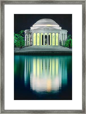Thomas Jefferson Memorial At Night Framed Print by Don Lovett