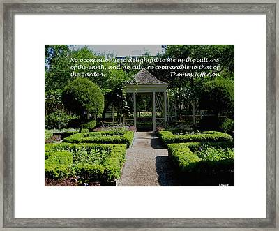 Thomas Jefferson On Gardens Framed Print by Deborah Dendler